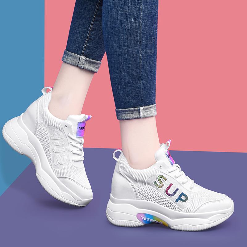 2021新款潮女鞋春款时尚百搭夏款老爹鞋内增高高跟休闲女士小白鞋