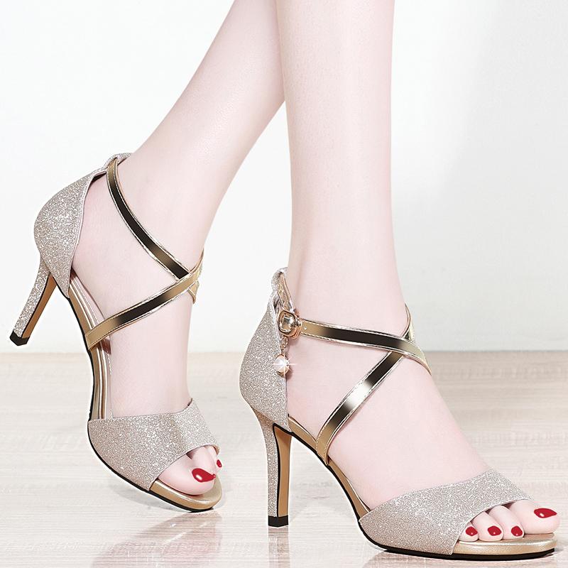 2021 new fashion womens shoes summer Korean fashion versatile casual high heels spring thin heel Roman womens sandals