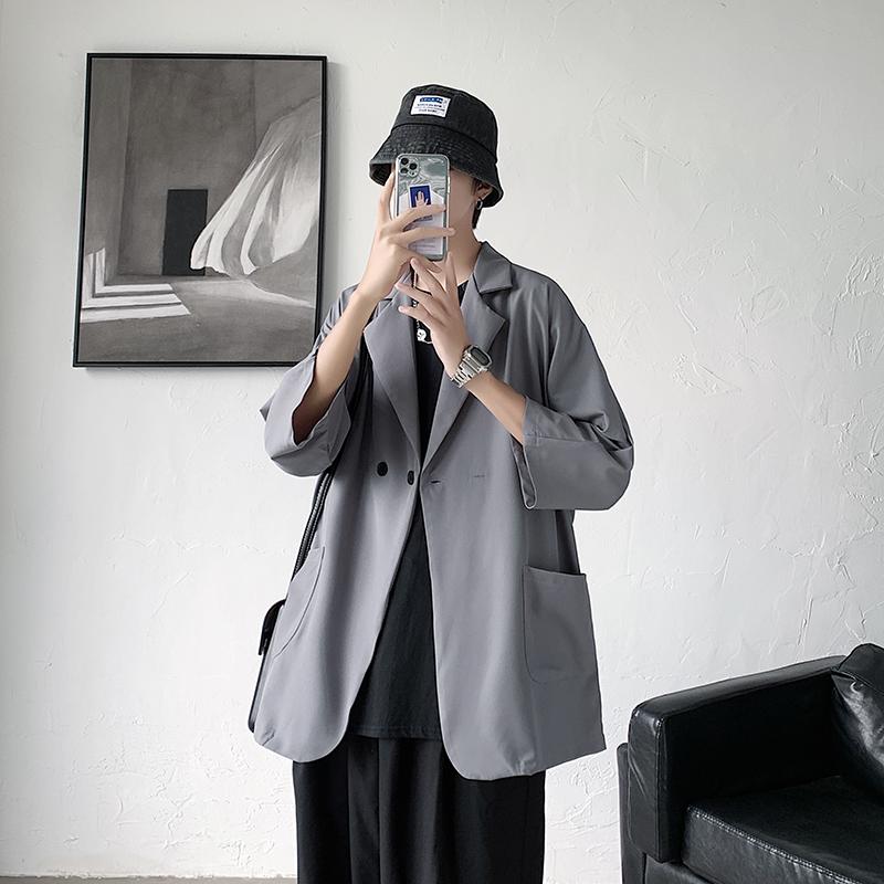 夏季薄款宽松七分袖衬衫小西装男潮港风西服外套 A176-9801-P48