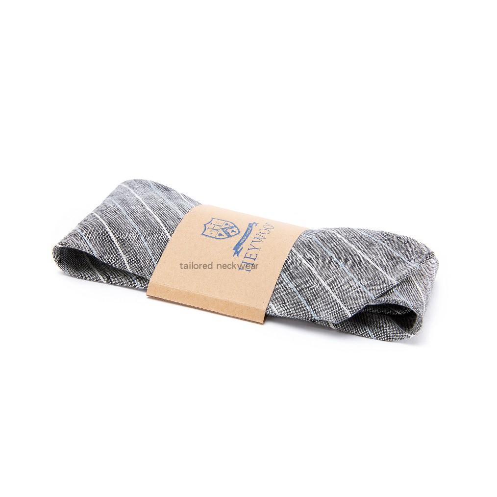 European and American handmade retro pure linen blue white gray stripe pointed tie 5cm 8cm customizable