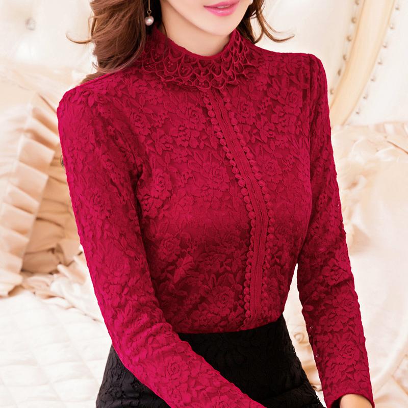 冬季大码加厚加绒保暖内衣女紧身美体单件上衣长袖蕾丝高领打底衫