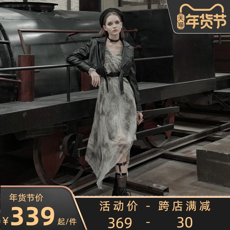 暗黑风雪纺灰色裙子垂感优雅飘逸长裙女颓废长袖V领连衣裙气质秋