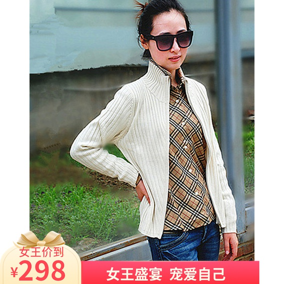 Autumn and winter womens clothing foreign trade original single sweater womens solid color vertical collar cardigan coat zipper sweater cashmere half high collar