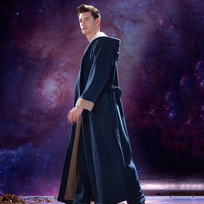 御庭新品男士浴袍法兰绒珊瑚绒睡袍法式睡衣冬季加长款保暖加绒厚