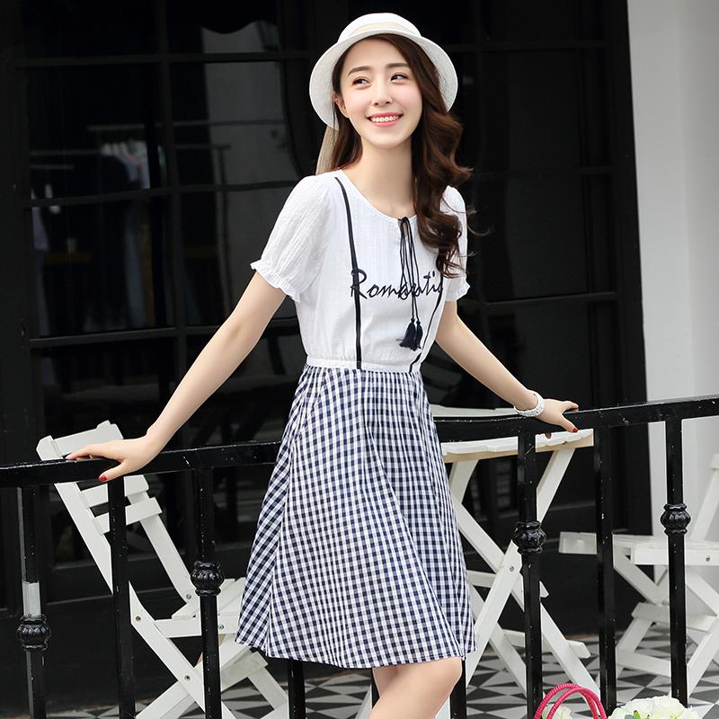 西子小荷a字连衣裙女春2018夏季新款韩版修身显瘦学生格纹中长裙