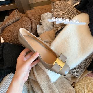 配大衣神器~大叔家2021春新款蝴蝶结方头中粗跟浅口单鞋女高跟鞋
