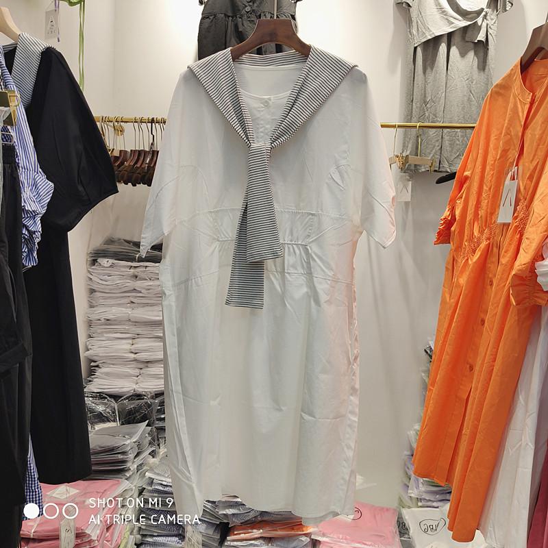 披肩假两件衬衫裙女连衣裙夏季新款宽松显瘦大码中长款裙子上衣潮