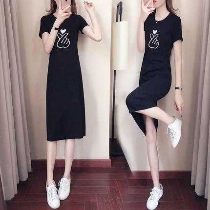 大码连衣裙女夏装2019新款t恤裙子