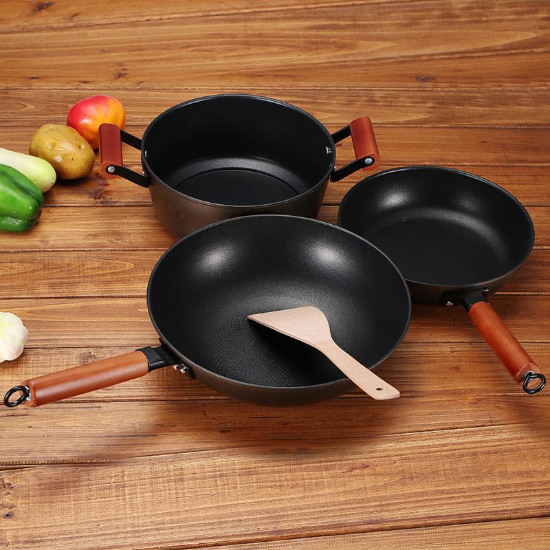 尤米鍋具套裝 炒鍋煎鍋湯鍋不粘鍋六件套 廚房無油煙套裝鍋