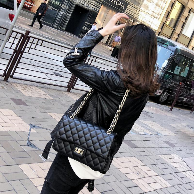 小香風菱格鏈條包2019新款ins高級感斜挎單肩手提氣質上新包包女