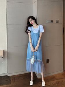 YF34858# 新款棉T+牛仔拼接网纱背带连衣裙两件套装 服装批发女装直播货源