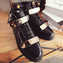 Fashion brand high top men's shoes hip hop shoes street dance shoes men's youth board shoes Korean Trend personality GZ gold spike shoes