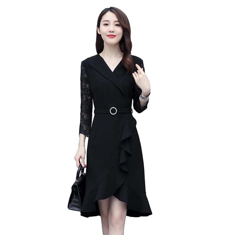 Autumn fashion Lapel stitching lace Quarter Sleeve Dress with belt and ruffle mid length dress 020801