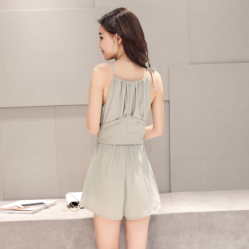 Summer pleated Crew Neck Lace up off the shoulder Jumpsuit sleeveless slim fit waistband Jumpsuit shorts grey green / m kn07016