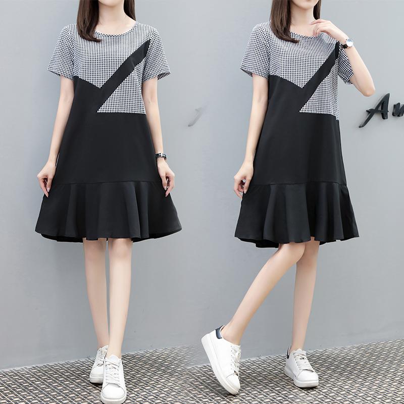 Summer new skirt round neck short sleeve skirt small lattice splicing black one-piece dress casual loose waist dress