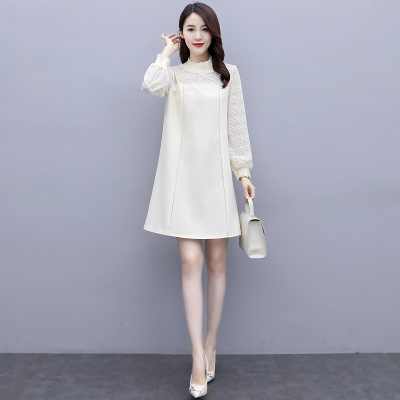 New thread stitching lace long sleeve skirt with half high collar H-shape dress Beige one-piece skirt ka0906