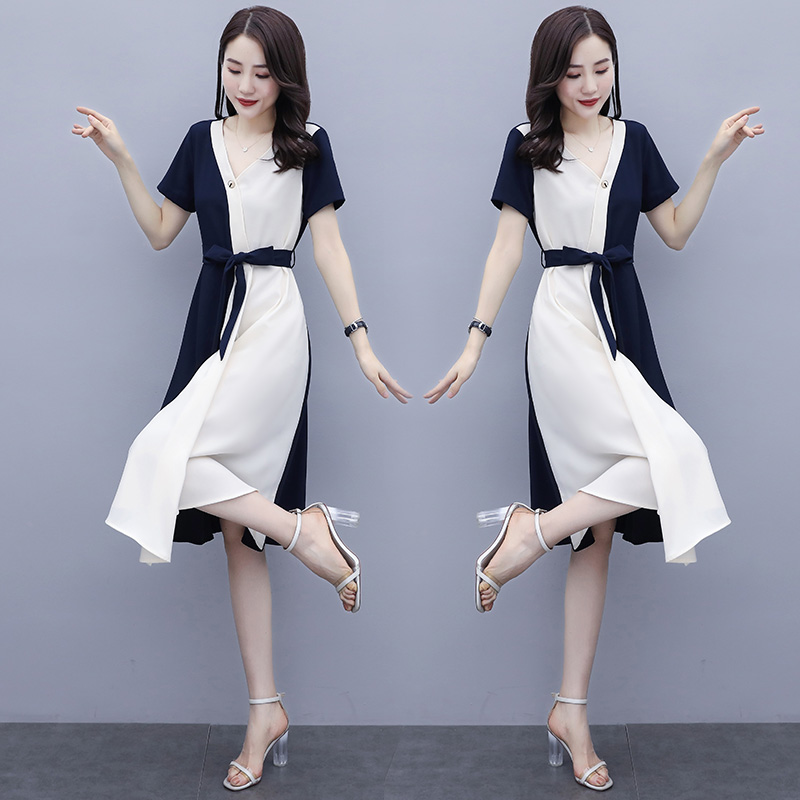 Summer fashion color matching dress V-neck short sleeve skirt slim tie waist mid length dress one-piece dress yellow / Navy