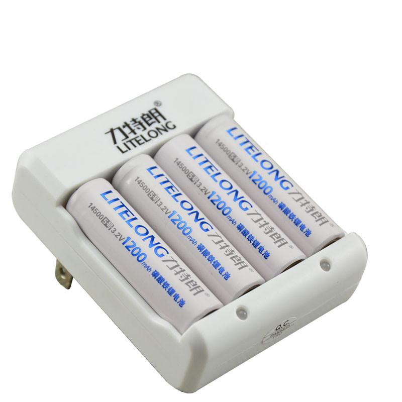 力特朗 磷酸鐵鋰電池 5號套裝 磷酸鐵鋰電池3.2V 14500電池1充4電