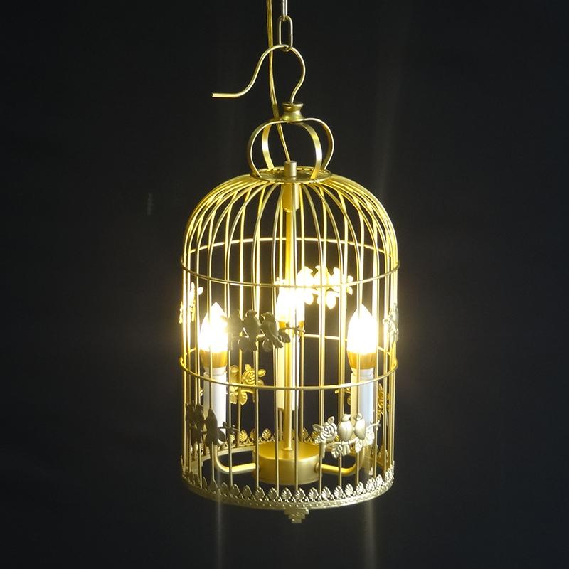 简约现代阳台过道金色鸟笼吊灯创意个性中式田园艺术橱窗茶楼别墅
