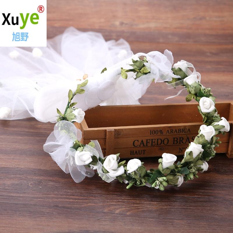 garland veil bridal headdress bridal veil hair accessories
