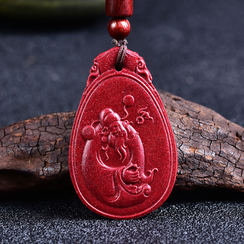 Kaiguang purple gold sand high content cinnabar God of wealth Pendant