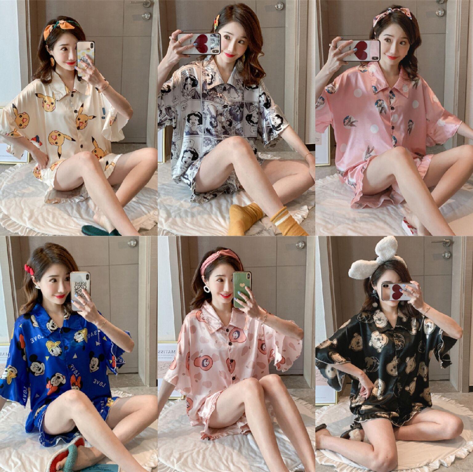 【宏达盛】睡衣女夏季蝙蝠袖冰丝风漫画性感真丝绸家居服 控价49