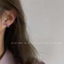 没有耳洞也能戴紫色迷你蝴蝶结耳钉耳夹无耳洞小巧简约气质包邮