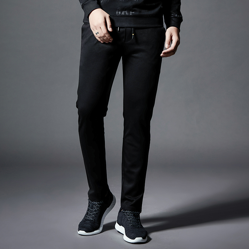 Mens casual pants elastic trousers autumn and winter decoration body small straight pants Korean version autumn mens pants trend