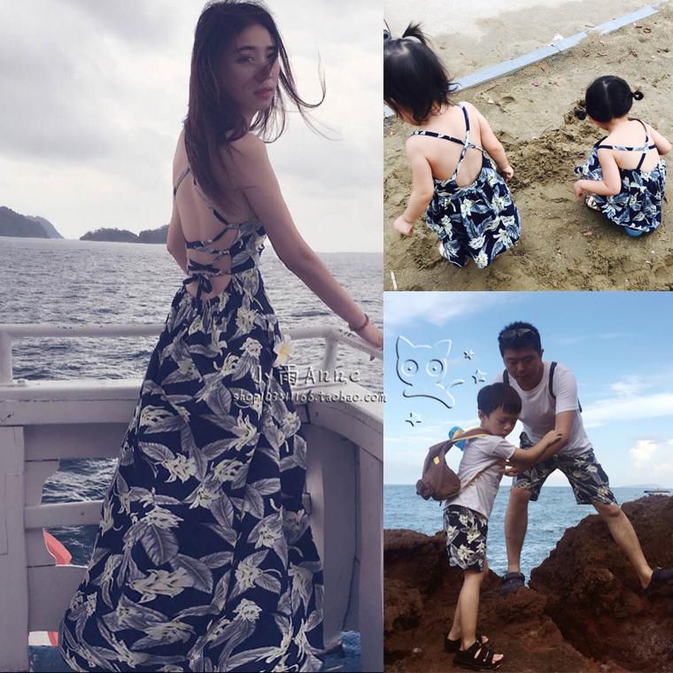 海边度假一家三口四口韩国沙滩裙限10000张券