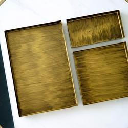 ins风组合收纳盘 北欧桌面杂物盘 几何形金属托盘 复古金色首饰盘