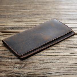 男士复古真皮钱包长款超薄头层牛皮钱夹简约皮夹疯马皮男包潮青年图片