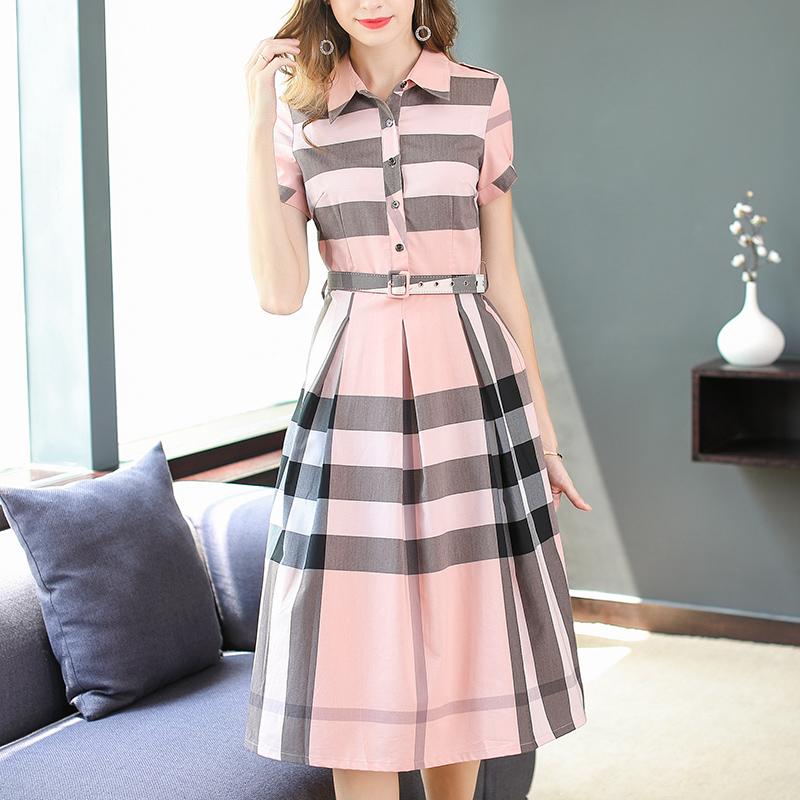 2020 summer new womens fashion Polo neck corset slim plaid shirt dress color matching