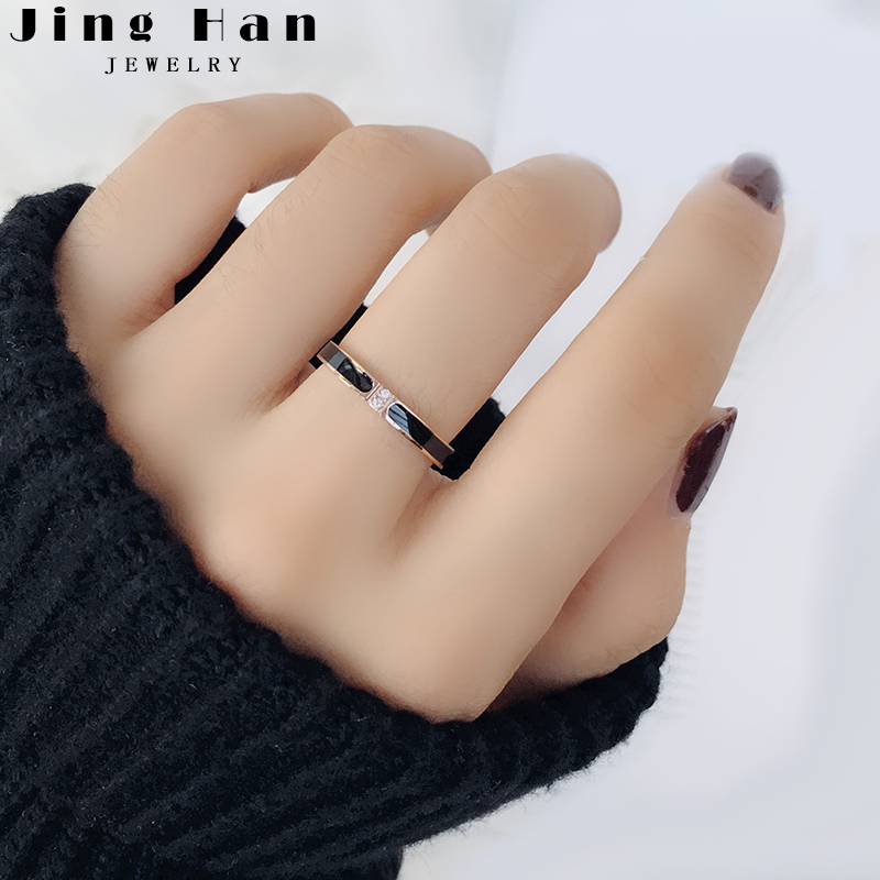 Japan and South Korea simple titanium steel rose gold ring female fine tail ring net red index finger ring Chaoren student personality lettering gift