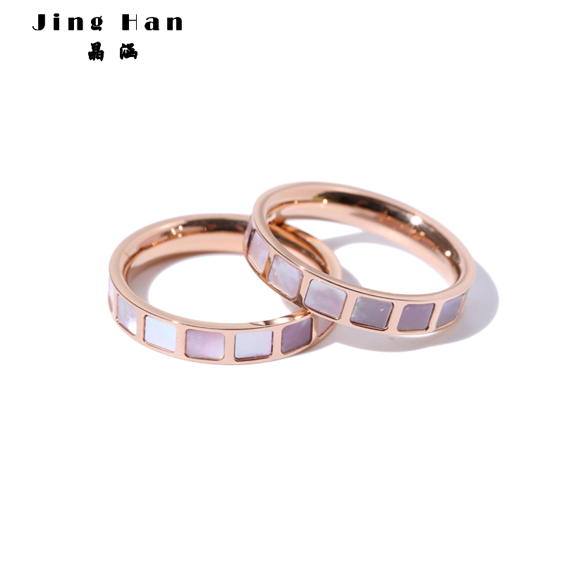 Japanese and Korean shell index finger ring ring female titanium steel 18k rose gold personalized decoration Chaoren net red simple tail ring ins