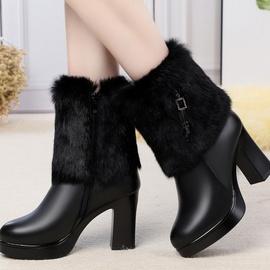 头层牛皮走秀女靴高跟模特靴子兔毛口冬季女棉靴粗跟短靴女羊毛里