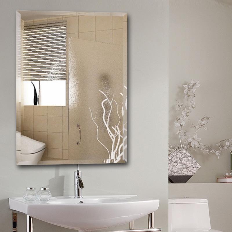 簡約歐式洗手間 鏡子壁掛 浴室鏡 簡約無框衛生間鏡子浴室鏡子