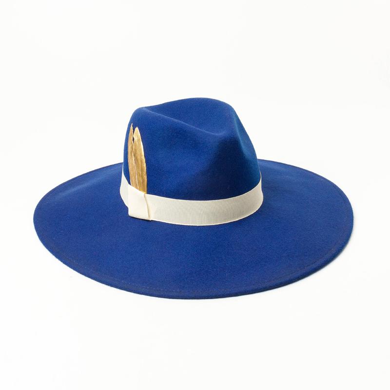 Autumn and winter fashion British retro feather Hepburn style wool jazz hat concave hat fashion hat female Hepburn style
