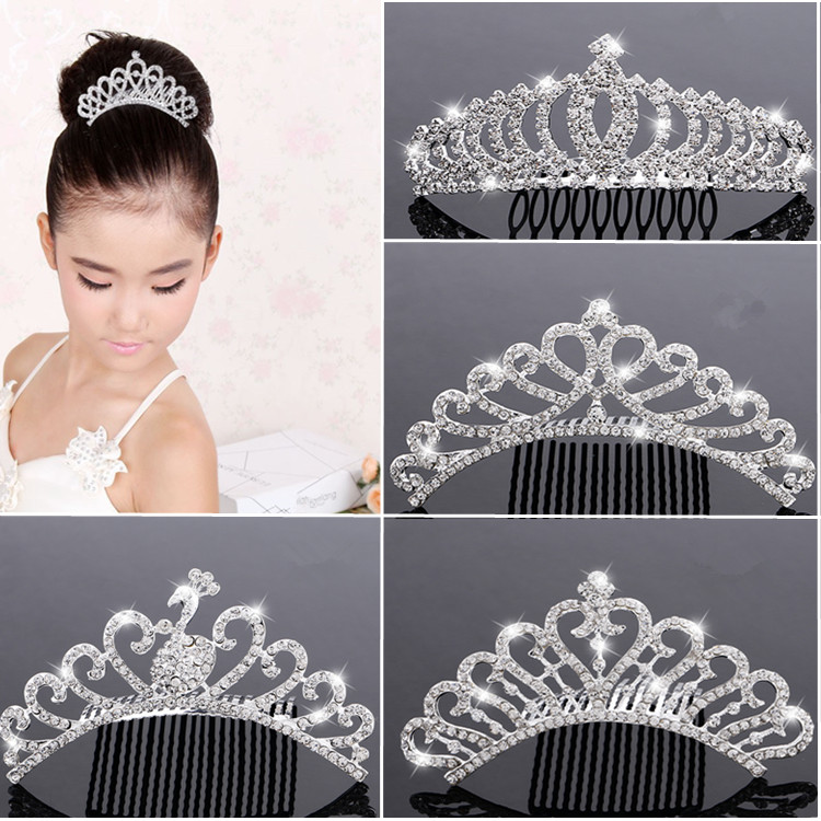 Childrens crown girls hair comb alloy hair accessories Princess shining diamond crown headdress girls performance new accessories