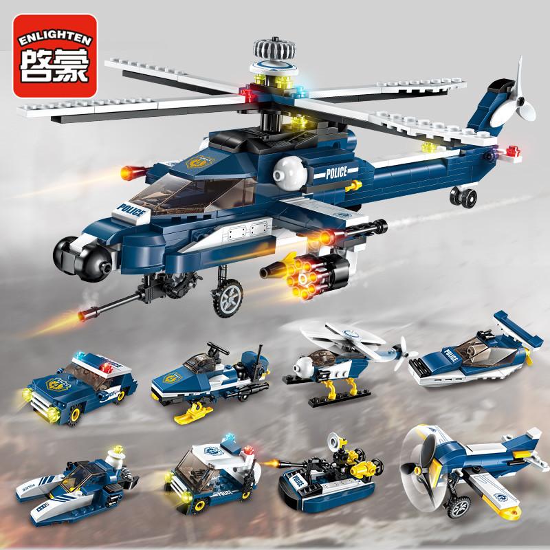 手慢无启蒙绝地警察求生飞机积木拼装小男孩吃鸡玩具3益智6儿童8岁樂高