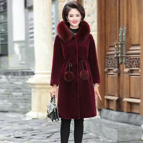 妈妈冬季水貂绒外套中长款毛呢大衣
