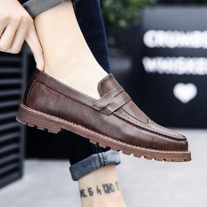 2019新款秋季男鞋男士日常休闲懒人潮鞋子韩版皮鞋英伦布洛克板鞋