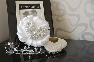 Pure hand sewn pearl crystal wedding shoes bridal shoes white high heeled shoes waterproof shoes banquet stage shoes