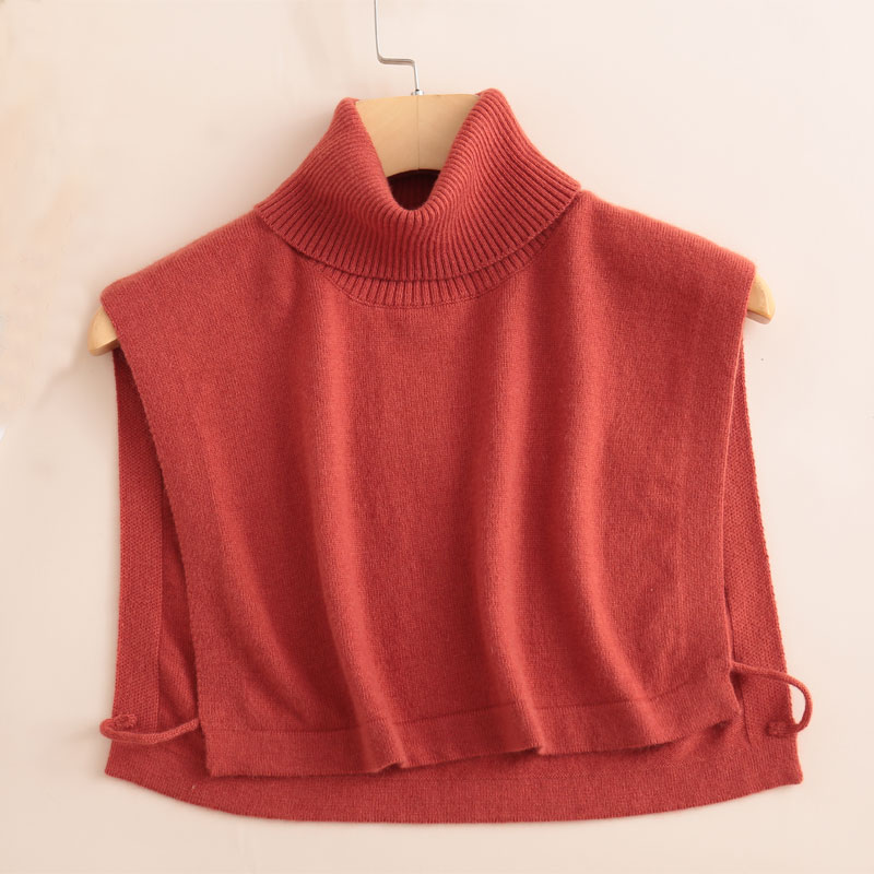 Wool knitted high neck with fake collar and sweater winter Pullover square neck with womens warm base collar