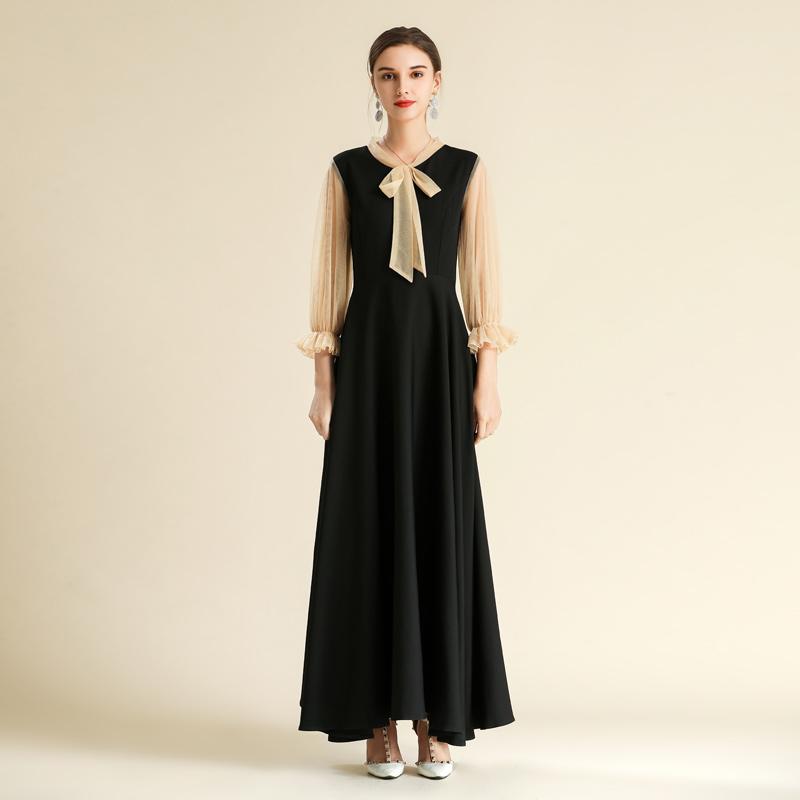 Dress Super Girl Super fairy long sleeve lace up long dress fat mm plus size slim Chiffon Dress