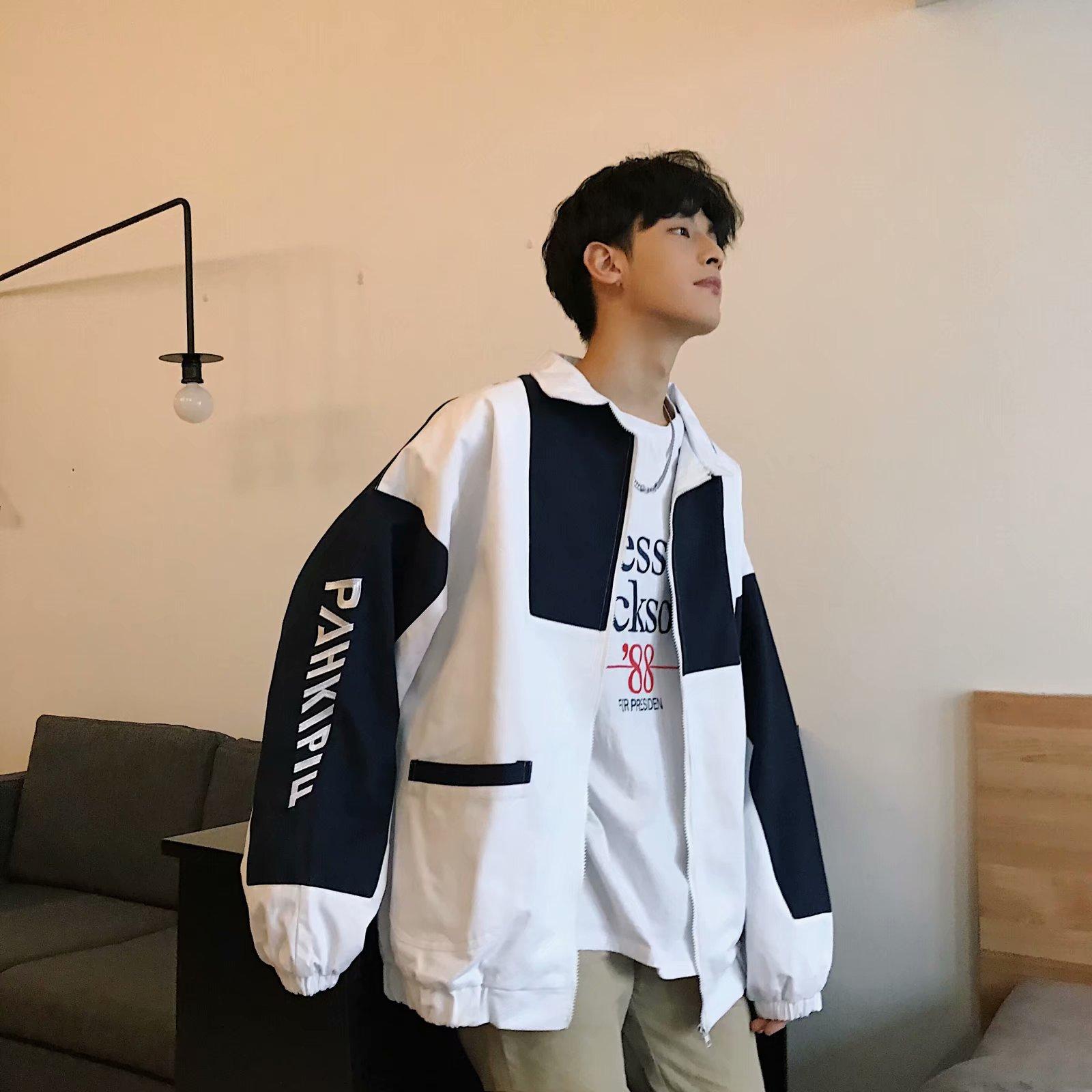 港风外套男秋宽松潮牌工装夹克韩版潮流学生休闲上衣棒球服