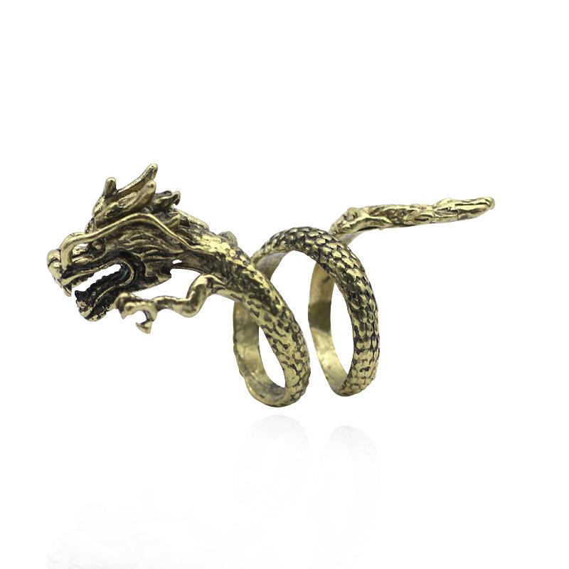 Retro Punk Gothic Street trendsetter jewelry 12 zodiac dragon mouth pendant alloy ring