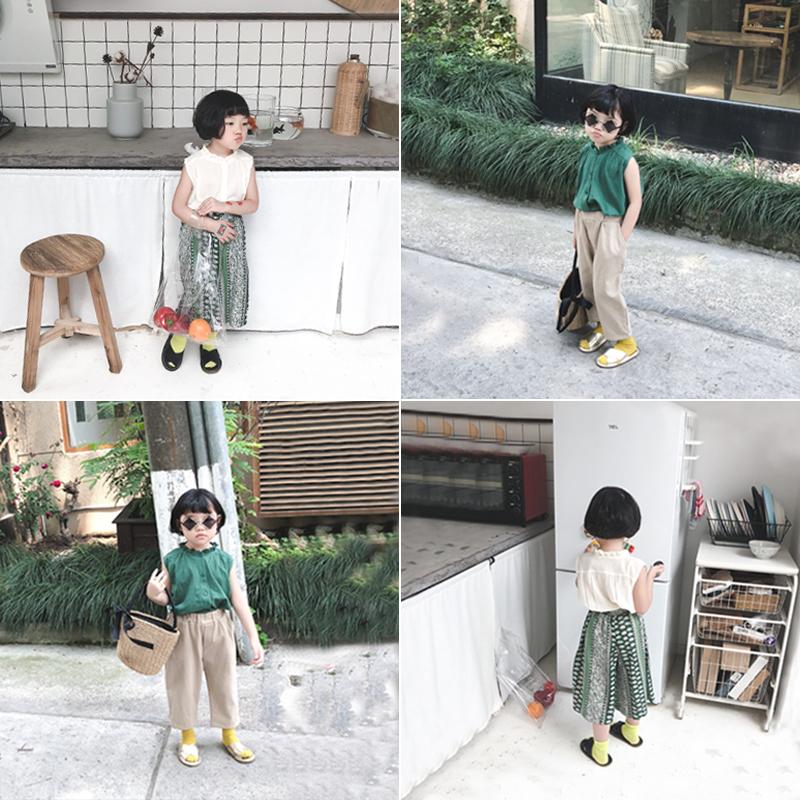 奶油cream 2018夏季新款女童可爱花边马甲宝宝休闲韩版无袖上衣潮