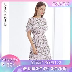 朗姿 裙子女2019夏装新款文艺修身收腰印花碎花半袖雪纺连衣裙女