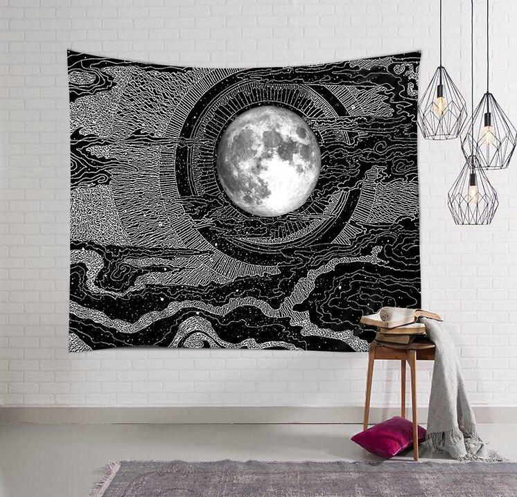 北欧ins日式浮世绘月球月亮挂布装饰挂毯墙布画布拍照背景布壁毯(非品牌)