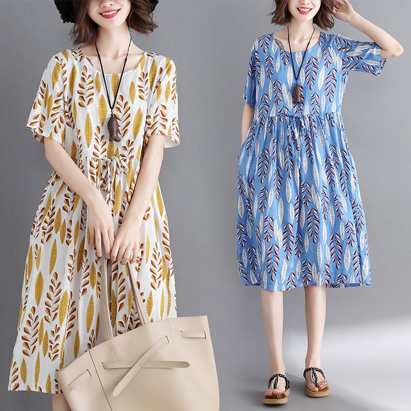 文艺棉麻女装大码收腰裙200斤韩版宽松显瘦皱褶减龄藏肉连衣裙子
